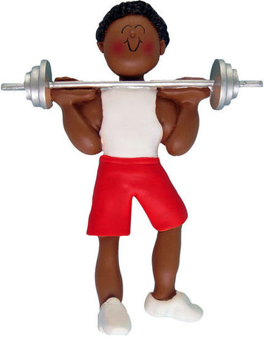 African-American Male Weightlifter Christmas Ornament