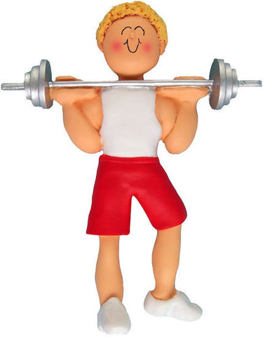 Blonde Male Weightlifter Christmas Ornament