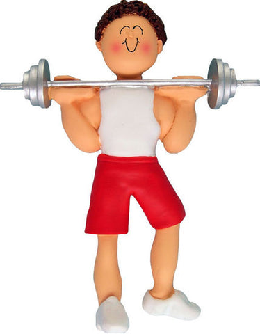 Brown Hair Male Weightlifter Christmas Ornament
