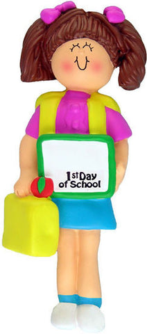Brunette Female First Day of School Christmas Ornament