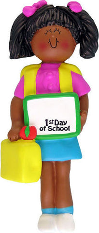 African-American Female First Day of School Christmas Ornament