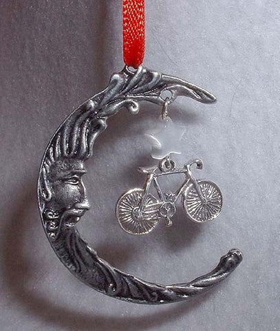 Road Bike & Moon  Christmas Ornament
