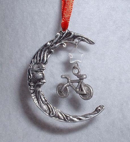 Mountain Bike & Moon  Christmas Ornament