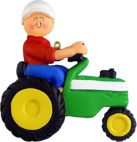 Male on Green Tractor Christmas Ornament