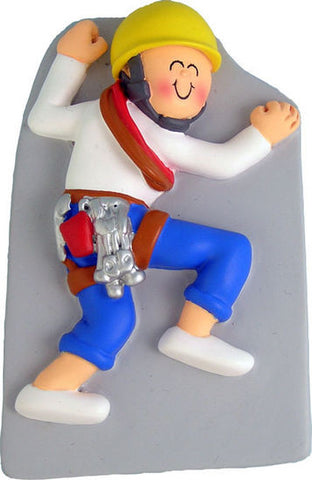 Male Rock Climber Christmas Ornament