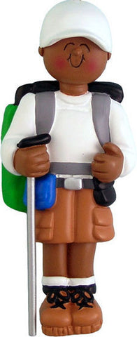 African-American Male Hiker Christmas Ornament