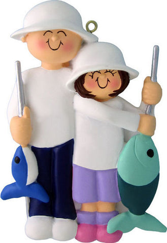 Fishing Friends Christmas Ornament (Female Child)