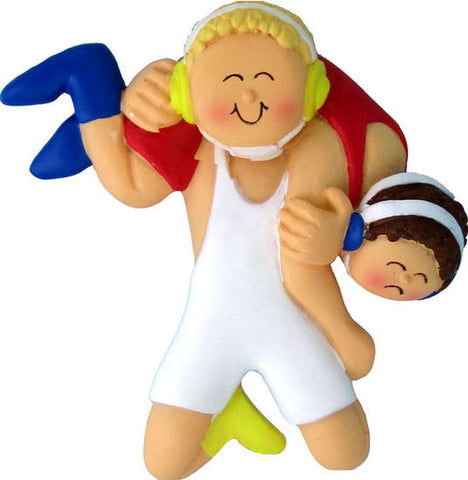 Blonde Male Wrestling Christmas Ornament