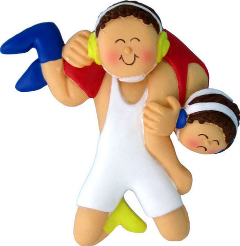 Brown Hair Male Wrestling Christmas Ornament