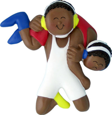 African-American Male Wrestling Christmas Ornament