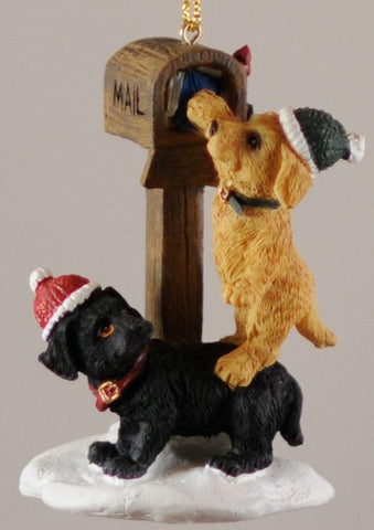 Black & Yellow Labs at Mailbox Christmas Ornament