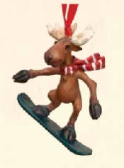 Moose on Snowboard Christmas Ornament
