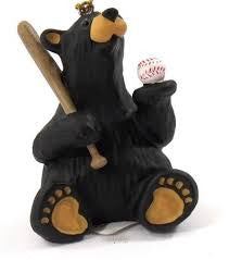 Bear Playing Baseball Christmas Ornament