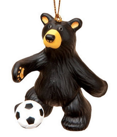 Bear Playing Soccer Christmas Ornament