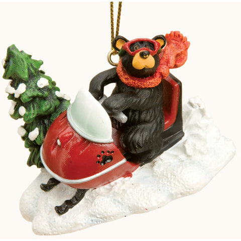 Bear on Snowmobile Christmas Ornament