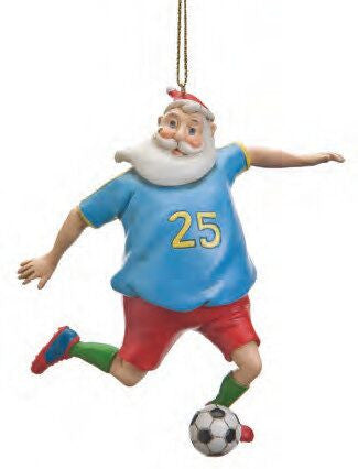 Santa Playing Soccer Christmas Ornament