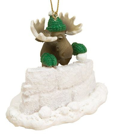 Moose in Snow Fort Christmas Ornament