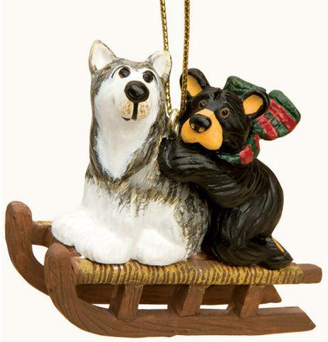 Bear and Sled Dog Christmas Ornament