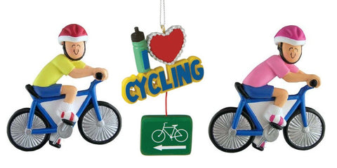 Set of Cycling Christmas Ornaments