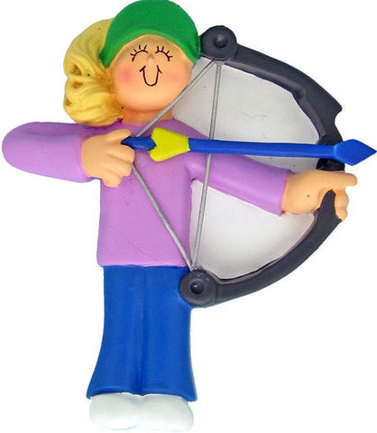 Blonde Female Archery Christmas Ornament