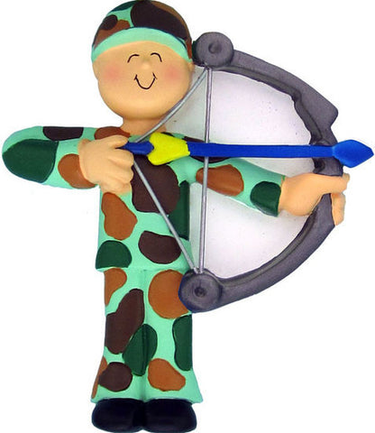 Male Bow Hunter Christmas Ornament