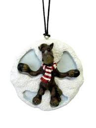Moose Snow Angle Christmas Ornament