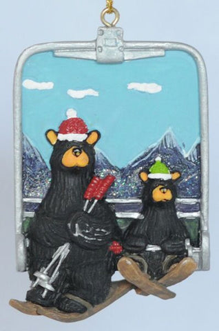 Bears on Chairlift Christmas Ornament