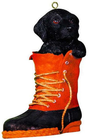 Black Lab in Boot Christmas Ornament
