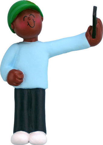 African-American Male Selfie Christmas Ornament