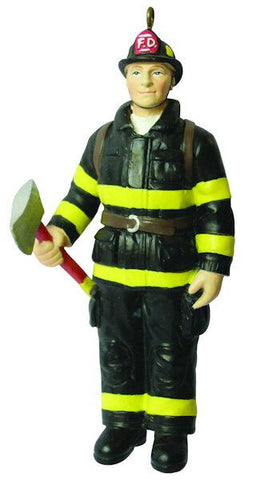 Male Firefighter Christmas Ornament