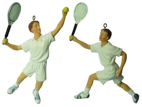 Male Tennis Players Christmas Ornament (Set of 2)