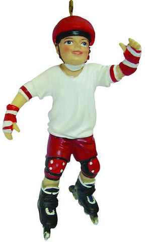 Male Rollerblading Christmas Ornament