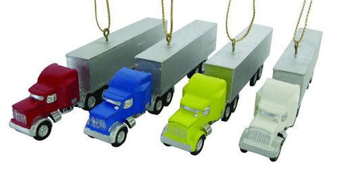 Semi Truck Christmas Ornaments (Set of 4)