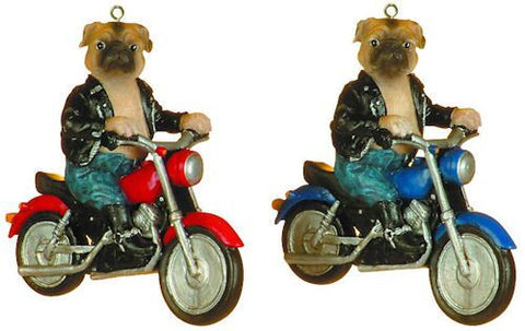Bulldogs on Motorcycles Christmas Ornament (Set of 2)