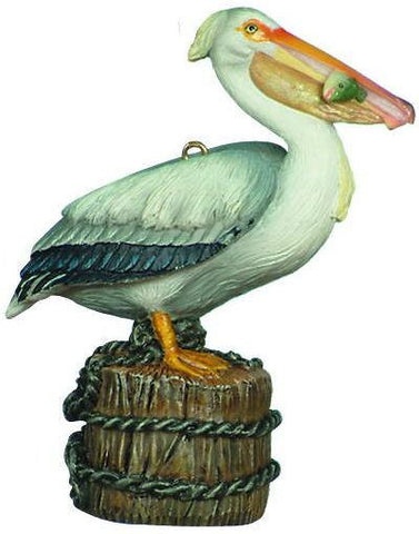 Pelican with Fish Christmas Ornament
