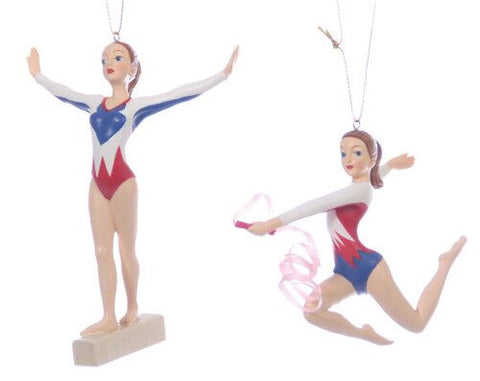 Female Gynmast Christmas Ornament (Set of 2)