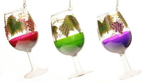 Wine Glass Christmas Ornament (Set of 3)