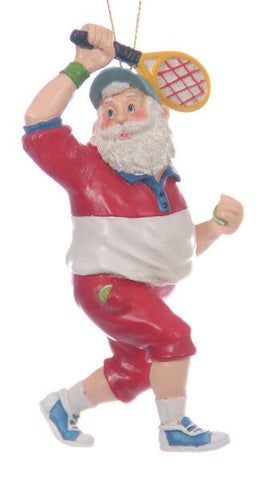 Santa Playing Tennis Christmas Ornament