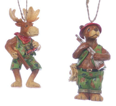 Bear and Moose Hunting Christmas Ornament (Set of 2)
