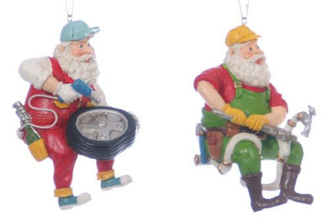 Santa Repairman Christmas Ornament (Set of 2)