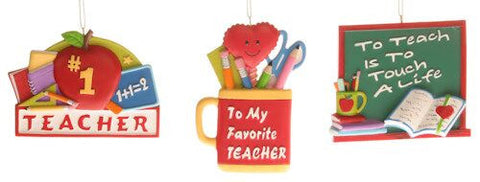 Teacher Signs Christmas Ornaments (Set of 3)
