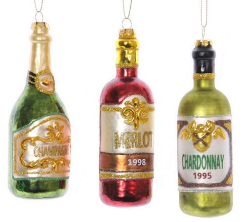 Wine Bottle Christmas Ornament (Set of 3)