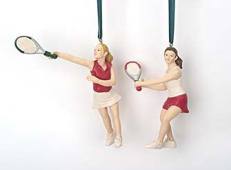 Tennis Players Christmas Ornaments (Set of 2)
