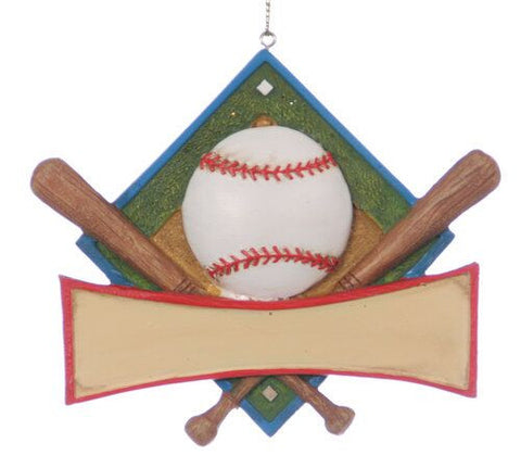Baseball Plaque Christmas Ornament