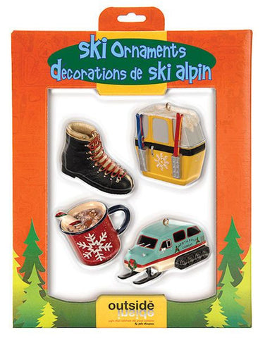 Skiing Christmas Ornament Set