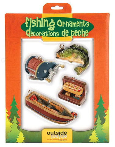 Cast Fishing Christmas Ornament Set