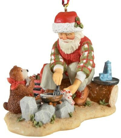 Santa by Campfire Christmas Ornament