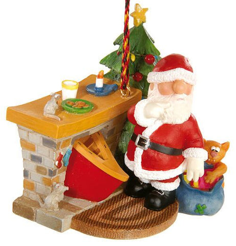 Santa by Fireplace Christmas Ornament