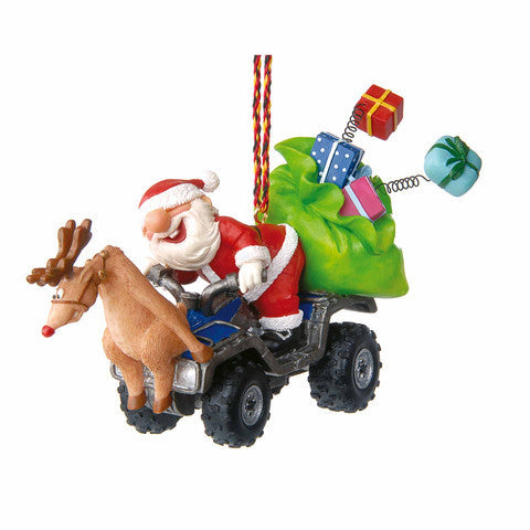 Santa on ATV Christmas Ornament