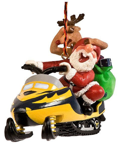 Santa and Reindeer on Snowmobile Christmas Ornament